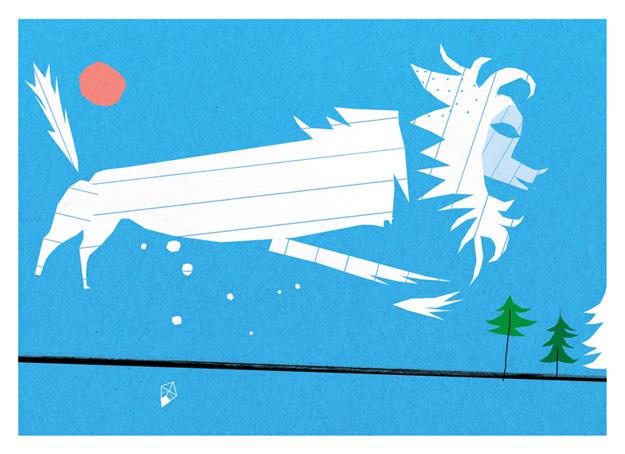 North WInd, postcard for PetitePoste, Zurich.
